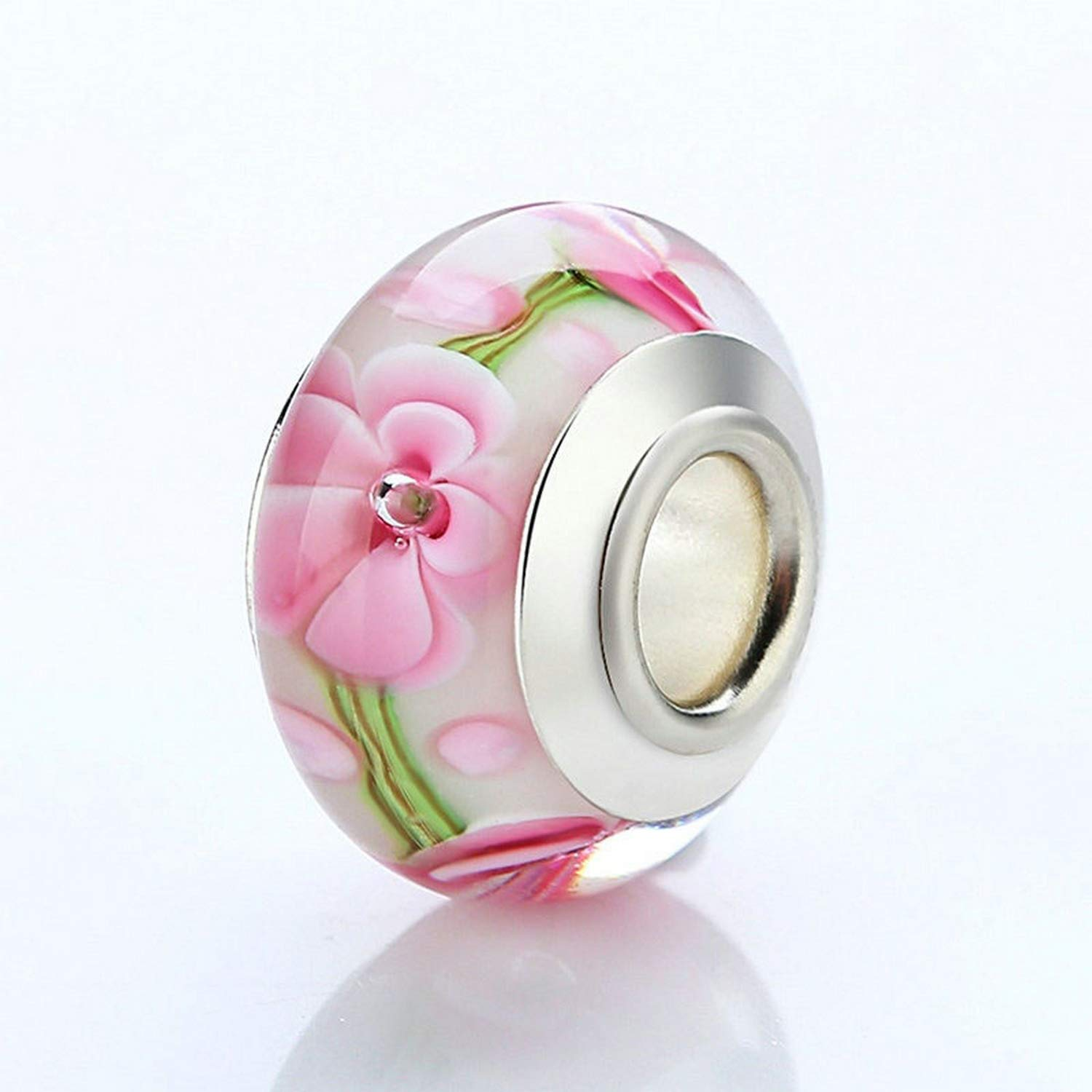 Evereena Silver Beads Bracelet for Girls Beautiful Pink Flower Murano Glass Womens Jewelry
