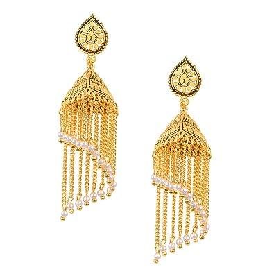 Buy Dinky Dolcee Gold Kashmiri Style Metal Multi Chain Jhumka