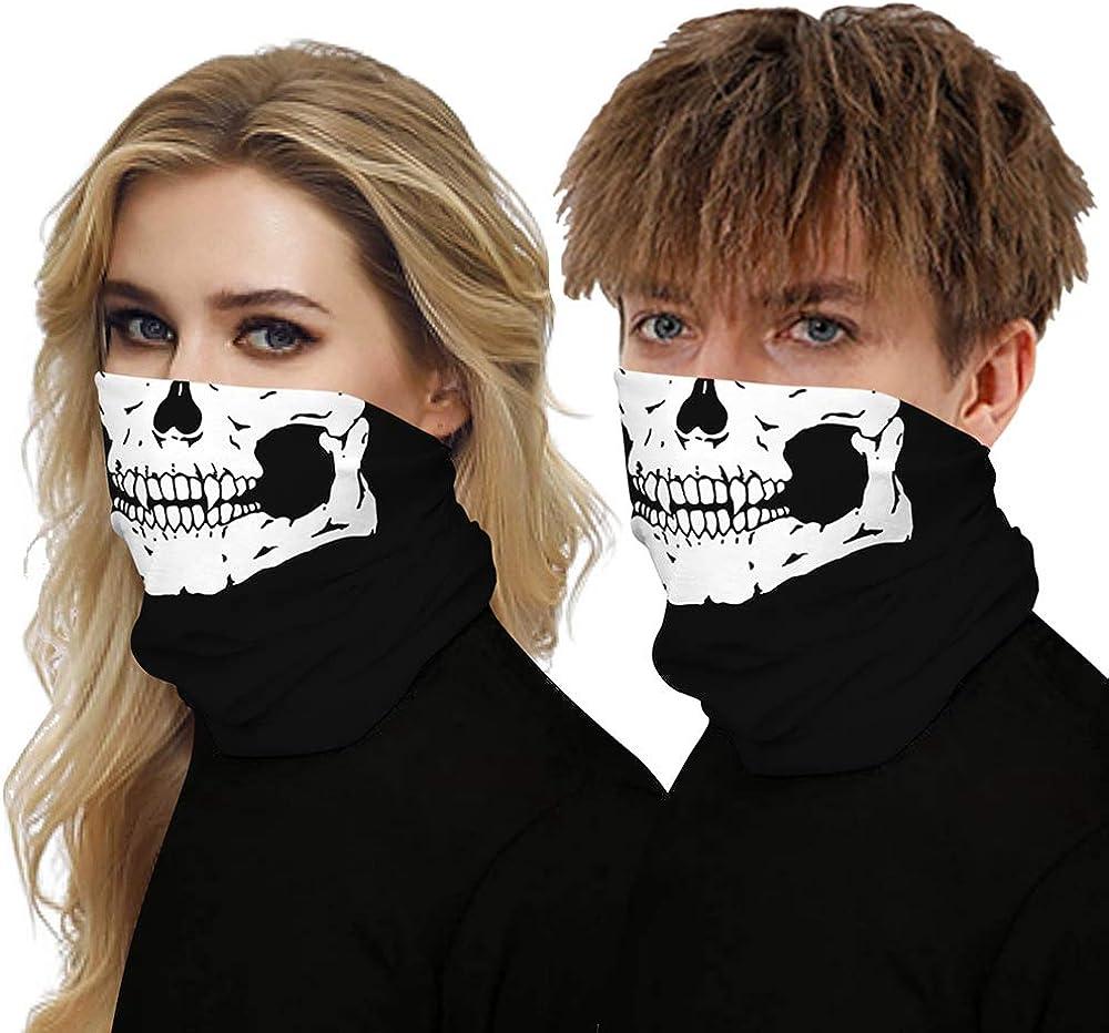 Mwfus Women Men Seamless Bandana Face Mask Breathable Cooling 3D Neck Gaiter Rave Balaclava Mouth Cover Skull Joker