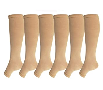 b818a09f85 Open Toe Graduate Compression Socks 6 Pairs For Women& Men 15-20 mmHg Knee  High