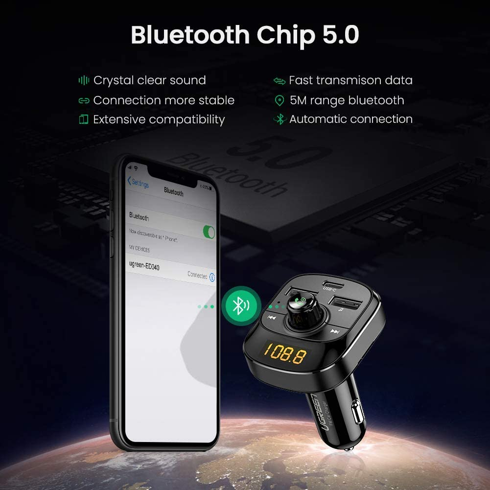 LED Backlit UGREEN Car Bluetooth Transmitter FM Radio Adapter Handsfree Car Kit Support TF Card USB Flash Drive PD3.0 and QC3.0 24W//4.8A Wireless Bluetooth 5.0 Car Kit with Hands Free Calls