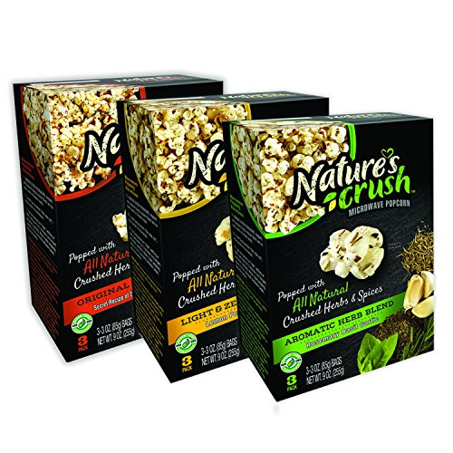 (Nature's Crush Natural Microwave Popcorn, Variety Pack of 3 Gourmet Flavors - Light & Zesty Blend, Aromatic Herb Blend, Original 23 Herbs Blend (3 boxes))