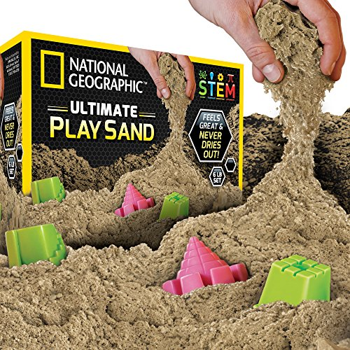 - National Geographic Play Sand - 6 LBS of Sand with Castle Molds (Natural) - A Kinetic Sensory Activity