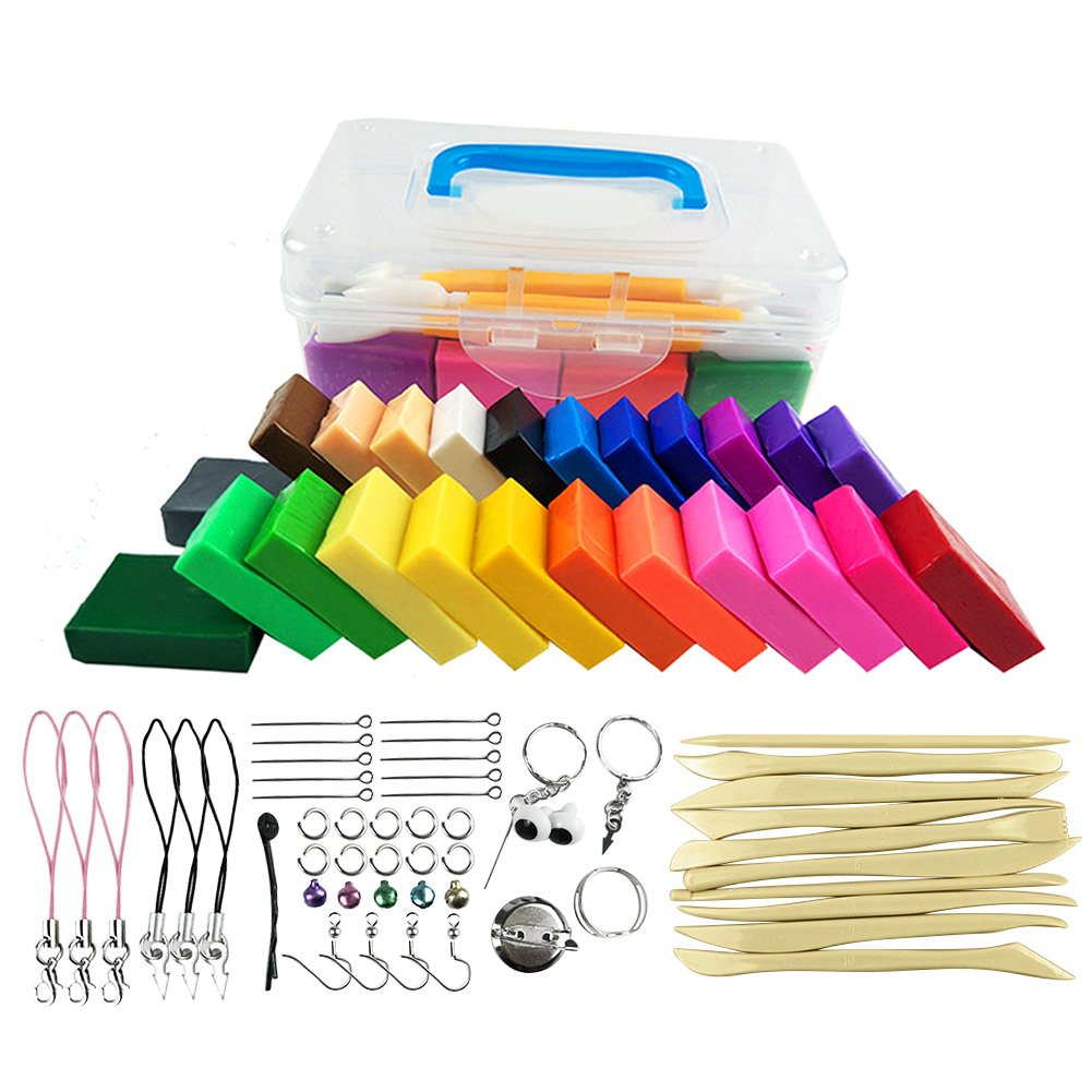 Polymer Clay Kit, 24 Blocks Oven Bake Clay Set, 10 Clay Sculpting Tools/Cutters,44 Jewlery Accessories, Ideal Gift for Kids, Safe and Nontoxic Soft DIY Modelling Moulding Clay Set
