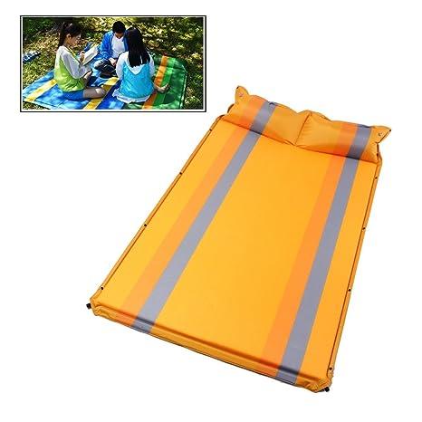 Netspower Colchón Hinchable Automático Impermeable de Camping con Almohadas para Viaje para Dos Personas - Naranja, Lujoso