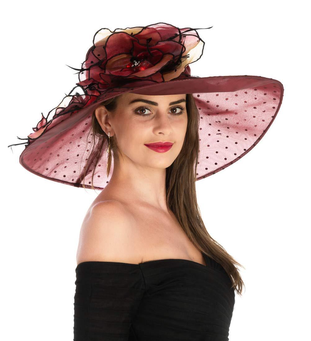 Saferin Women 's Kentucky Derby Sun Hat Church Cocktail Party Wedding Dress Veil Organza Hat Wide Brim Burgundy Dot Free size
