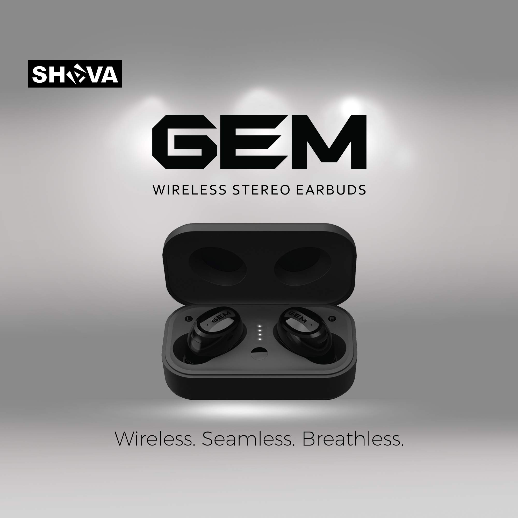 SHAVA GEM Wireless Earbuds, Bluetooth Headphones with Noise Cancelling and Microphone, True Wireless Earbuds with Wireless Charging and 3D Stereo Sound (Wireless Charger Included, Black Color) Price: $59.90