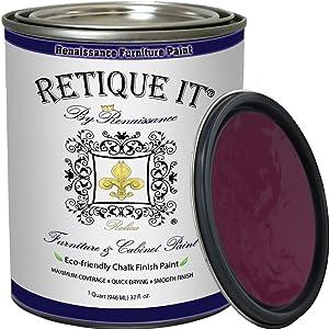 Retique It Chalk Furniture Paint by Renaissance, 32 oz (Quart), Plum 56
