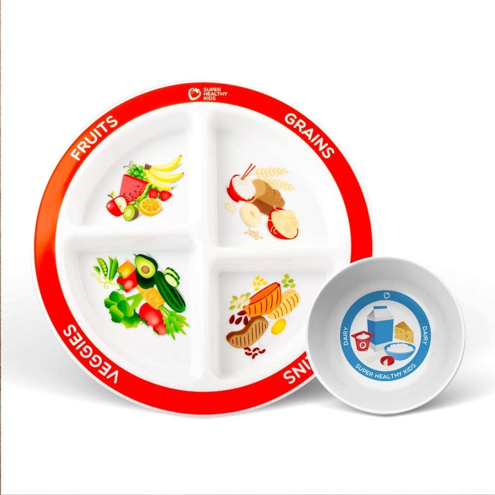 Health Beet Portion Plate Choose MyPlate for Kids, Toddlers - Kids Plates with Dividers and Nutrition Portions Plus Dairy Bowl - English Language (1 Plate, 1 Bowl)