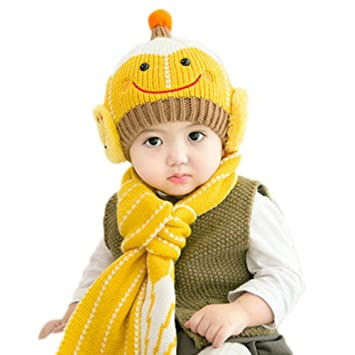 78f8aa702 Amazon.com  Kid s Cute Smile Face Winter Hat and Scarf Set Kids Warm ...