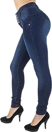 Amazon Com Diseno Colombiano Plus Tamano Junior Cintura Alta Levantamiento De Gluteos Pantalones Vaqueros Pitillo Clothing