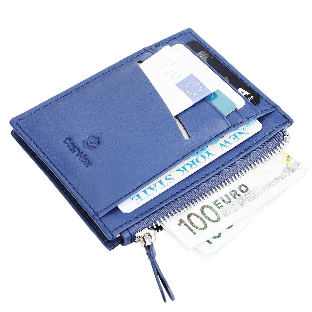 Portefeuille cuir véritable protection RFID; billet et 4 cartes, poche zippée pour pièces, clefs.Pratique, Simple, Sûr; Livré en Boîte-Cadeau LLBK