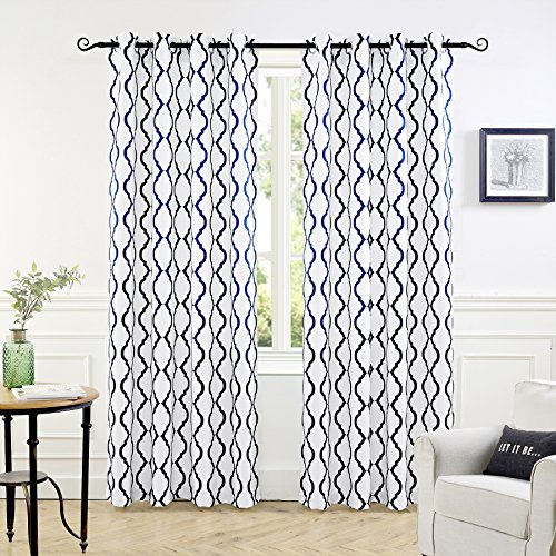 DriftAway Geovany Room Darkening/Thermal Insulated Grommet Window Curtains, Moroccan Geometric Trellis Pattern, Set of Two Panels, Each Size 52