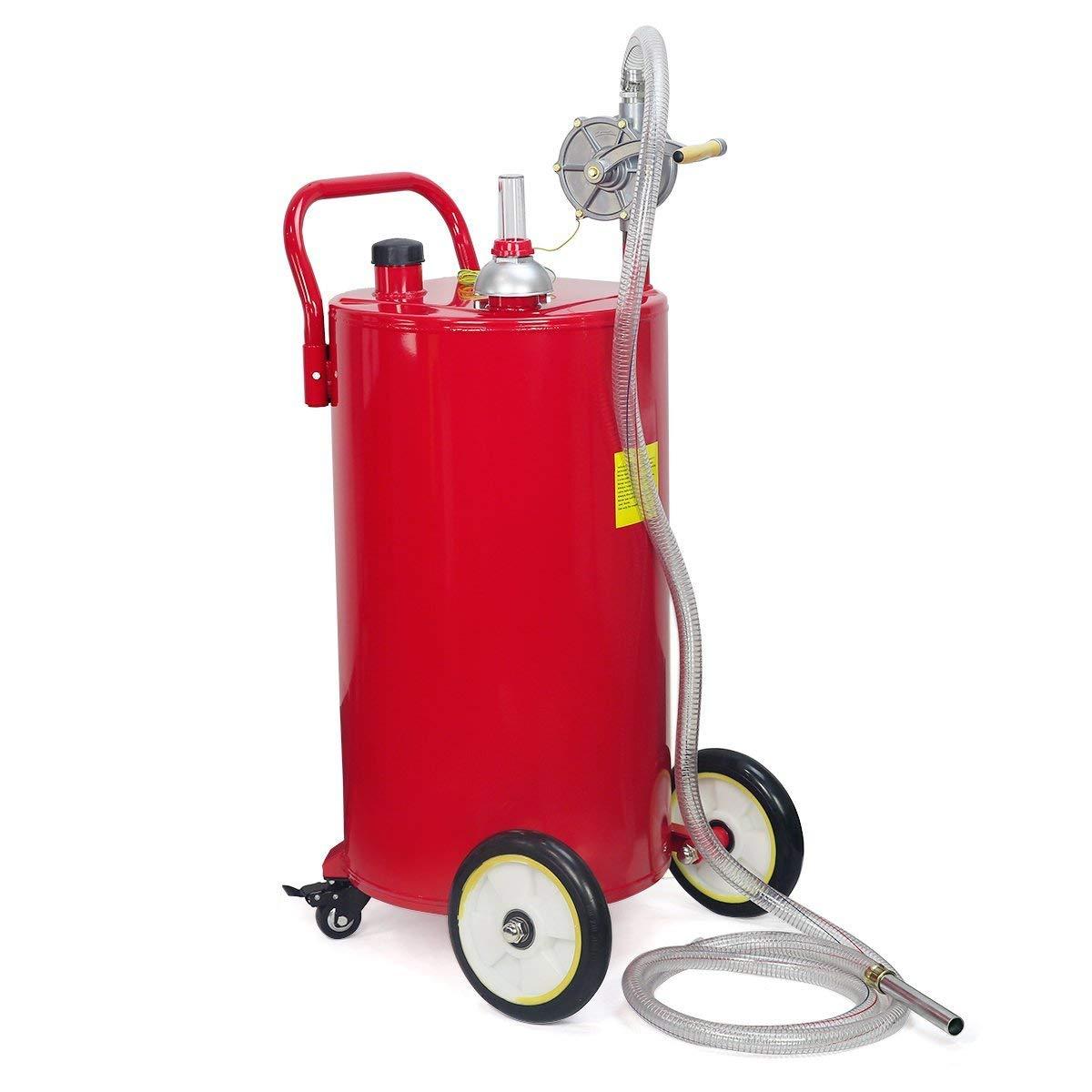 STKUSA 35-Gallon Portable Fuel Transfer Gas Can Caddy Storage Tank 35gal-Capacity Pump w/Wheel