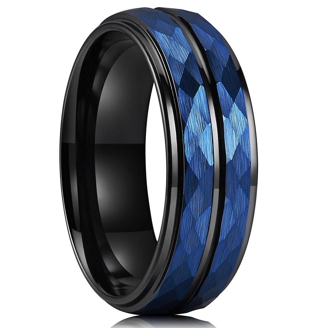 King Will HAMMER 8mm Blue Hammered Tungsten Carbide Ring Black Two Tone Wedding Band Groove Step Edge Comfort Fit(9.5)