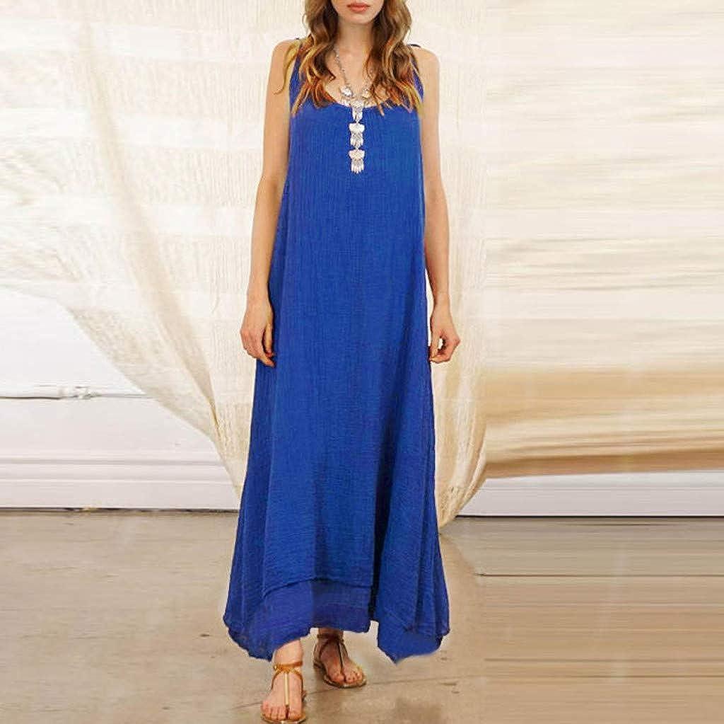 Cliramer Fashion Women Sleeveless Strappy Cotton Linen Loose Bohe Casual Retro Long Maxi Dress Beach Dresses