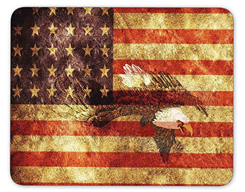 The Vintage Retro Patriotic Bald Eagle with US American Flag Wings Background Mouse Pad, HD Bright Colors Gaming Mouse Pad Custom Design Mat ()