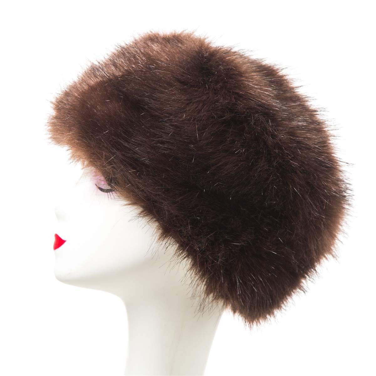 Lucky Leaf Women Men Winter Thick Fur Russian Hat Warm Soft Earmuff (H1-Coffee)