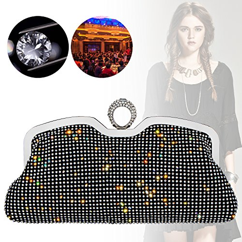 Handbag Black Party Rhinestones Knuckles Wedding Full Evening Bagood Bag Shining Women's Purses Clutches 7wFqFpz