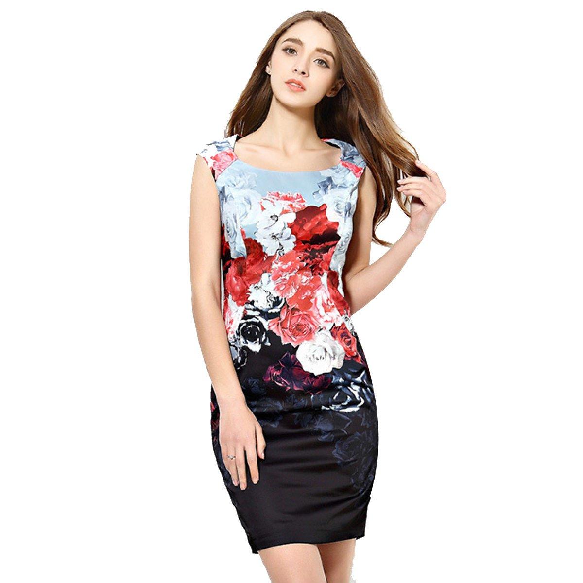 China Palaeowind Women Spring And Summer Fashion Retro Slim High Waist Dress,Color-