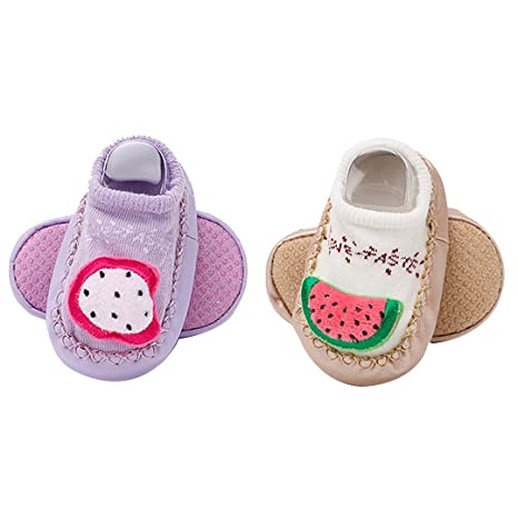 La Haute bebé niño zapatos calcetines 2 pares antideslizante zapatillas de interior Cute Cartoon recién nacidos
