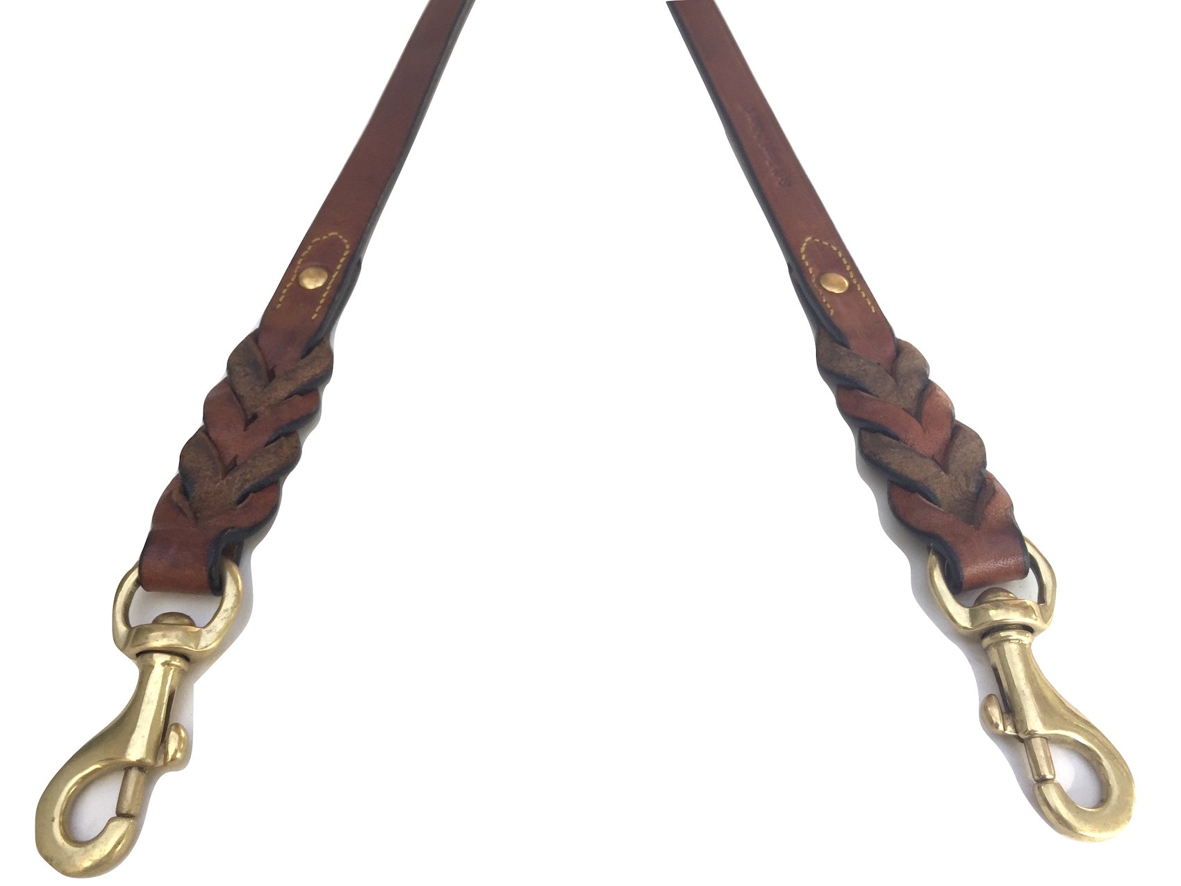 Soft Touch Collars - Leather Braided Coupler Dog Leash for Two Dogs, Brown - Walk 2 Dogs with only 1 Lead - 18 Inches Long x 3/4 inch Wide by Soft Touch Collars