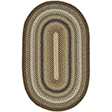 Safavieh Braided Collection BRD313A Hand Woven Brown and Multi Oval Area Rug, 4 feet by 6 feet Oval (4' x 6' Oval)