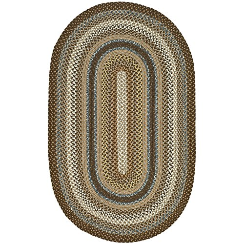 Safavieh Braided Collection BRD313A Hand Woven Brown and Multi Oval Area Rug (3' x 5' (American Braided Rugs)