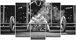 LevvArts - Black and White Canvas Wall Art Weightlifting Pictures Sportsman Muscular Weightlifter Paintings on Canvas for Gym Decorations Home Decor,Ready to Hang