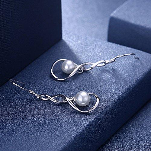 Dainty Pearl Infinity 925 Sterling Silver Dangle Earrings for Women Girls Wedding Fashion Bridesmaid Dangling Hypoallergenic (silver) by IminiJewelry (Image #3)