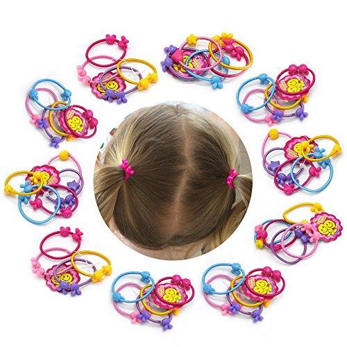 50 PCS Cute Hair Ties Rabbit Ear Head Bands Ropes Hair Colorful Elastics Ponytail Holder for Baby Toddler Girl