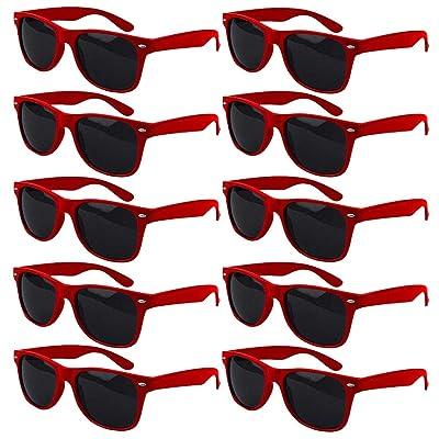 10pcs Gafas De Sol Rojo Gafas Ojos Retro Moda Estilo Vintage Gafas Para Mujer 100% UV400: Ropa y accesorios