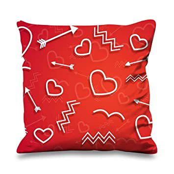 Cupids Love Symbols Cute Valentines Day Faux Silk Heart Shaped Sofa