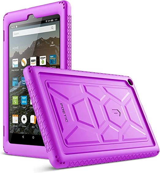 Purple Poetic TurtleSkin All-New  Fire HD 8 2017 Rugged Case Heavy Duty Silicone and Sound-Amplification Feature Cover for  Fire HD 8 2017 7th Generation,2017 Release