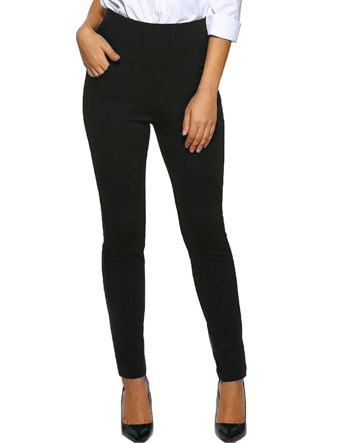 Kidsform Womens Dress Pants Straight Leg Trousers Office Wear Ladies Pant Stretch Slim Fit Casual Bottoms with Pocket
