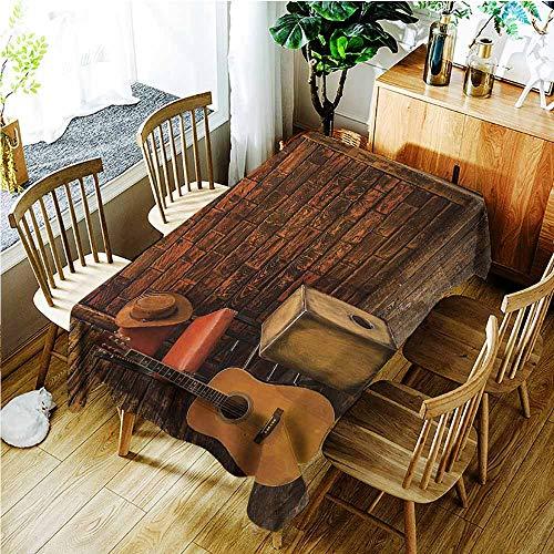 TT.HOME Elastic Tablecloth Rectangular,Music Music Instruments on Wooden Stage in Pub Beverage Cafe Counter Bar,Modern Minimalist,W52x70L,Dark Orange Amber Sand Brown