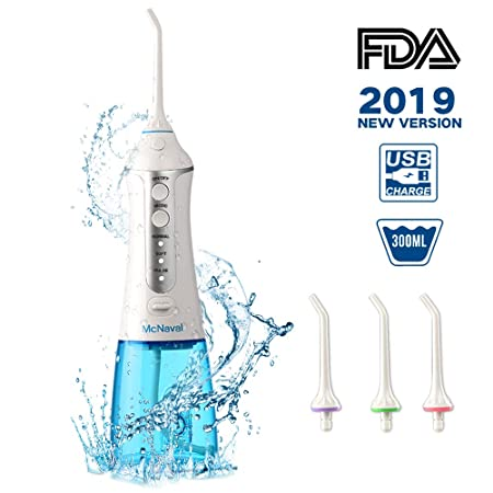 McNaval Water Flosser Professional Cordless Dental Oral Irrigator — Portable with 300ml Large Cleanable Water Tank, USB Rechargeable IPX7 Waterproof 3 Modes Anti-Leakage Design Water Flossing for Home, Travel, Braces and Bridges Care