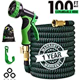 8. 100 ft Expandable Garden Hose,100 Feet Leakproof Lightweight Garden Water Hose with Spray Nozzle,Superior Strength 3750D Expanding Garden Hoses,Durable Outdoor Gardening Flexible Hose for Watering