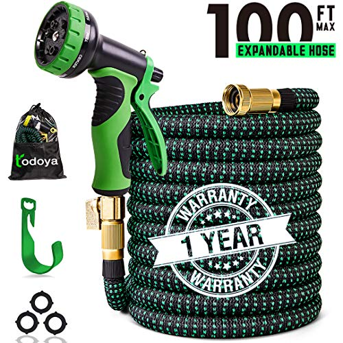 - 100 ft Expandable Garden Hose,100 Feet Leakproof Lightweight Garden Water Hose with Spray Nozzle,Superior Strength 3750D Expanding Garden Hoses,Durable Outdoor Gardening Flexible Hose for Watering
