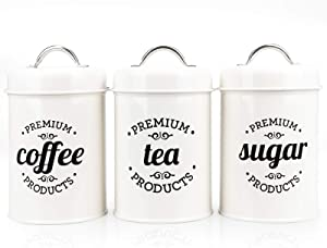 PAOPASE Airtight Kitchen Canister Decorations with Lids, White Metal Rustic Farmhouse Country Decor Containers for Sugar Coffee Tea Storage (Set of 3)