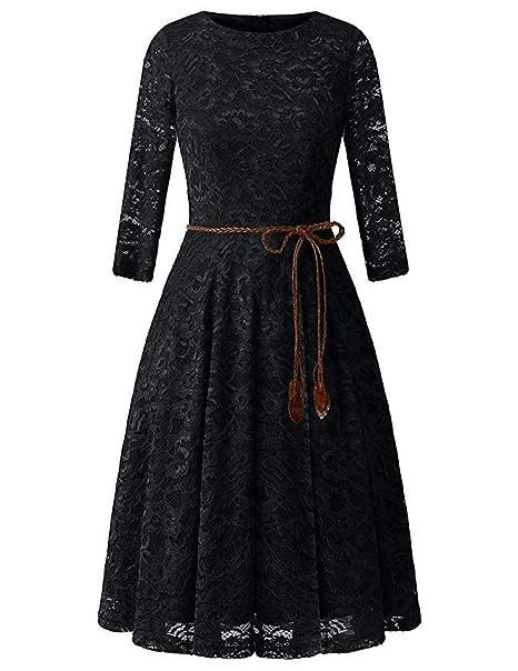 Amazon.com: Vestido de cóctel con encaje floral para mujer ...