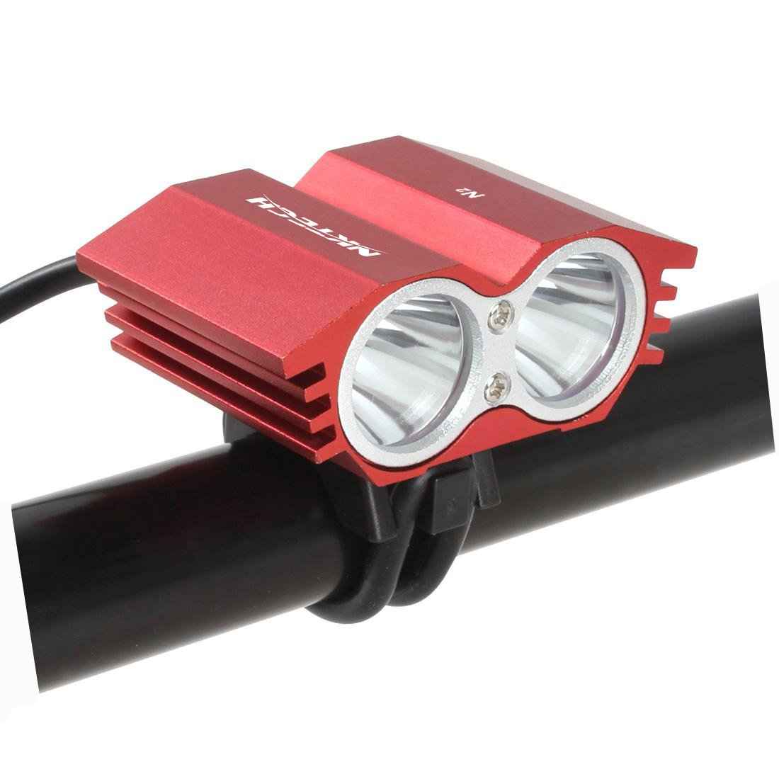 8.4V 1A Adapter X2 Upgrade Super Bright Waterproof Bicycle Headlight Fits All MTB Mountain and Road Bikes NKTECH N2 2X U2 LED Cycling Bike Bicycle Front Headlamp Headlight Lamp Light T6 Torch Power by 4X 18650 Battery Pack Cycling Safety Lights
