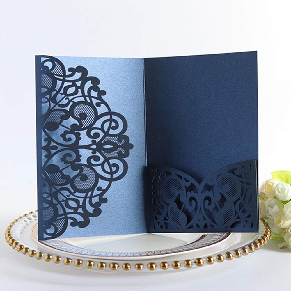 10PCS Wedding Invitations Cards European Style Laser Cut Wedding Invitations Kit Holiday Blessing Greeting Card with Blank Cardstock /& Hollow Flora Design by MYCreator White