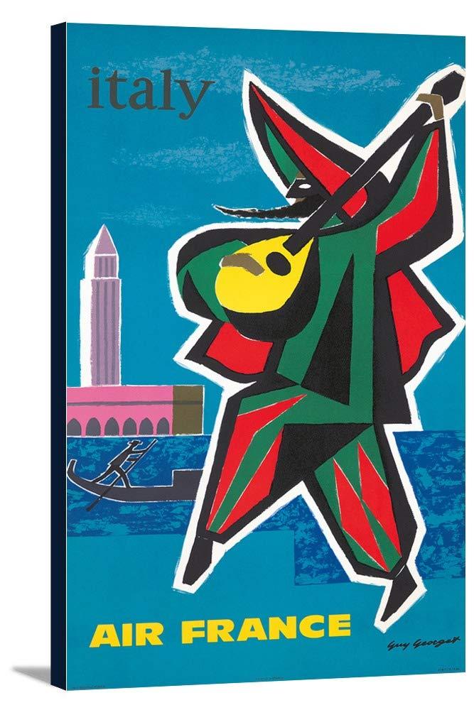 エアフランス – イタリアヴィンテージポスター(アーティスト: Georget )フランスC。1963 11 1/2 x 18 Gallery Canvas LANT-3P-SC-73729-12x18 11 1/2 x 18 Gallery Canvas  B01DZ1XATI