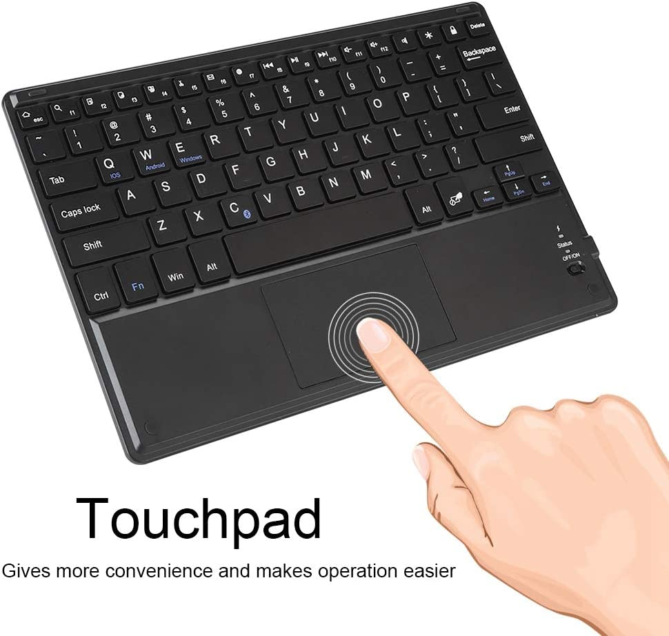 10-12 Ultra Slim Bluetooth Wireless Keyboard with Touchpad for Android//Windows//iOS Black Universal Keyboard Keyboard Sorand Bluetooth Wireless Keyboard