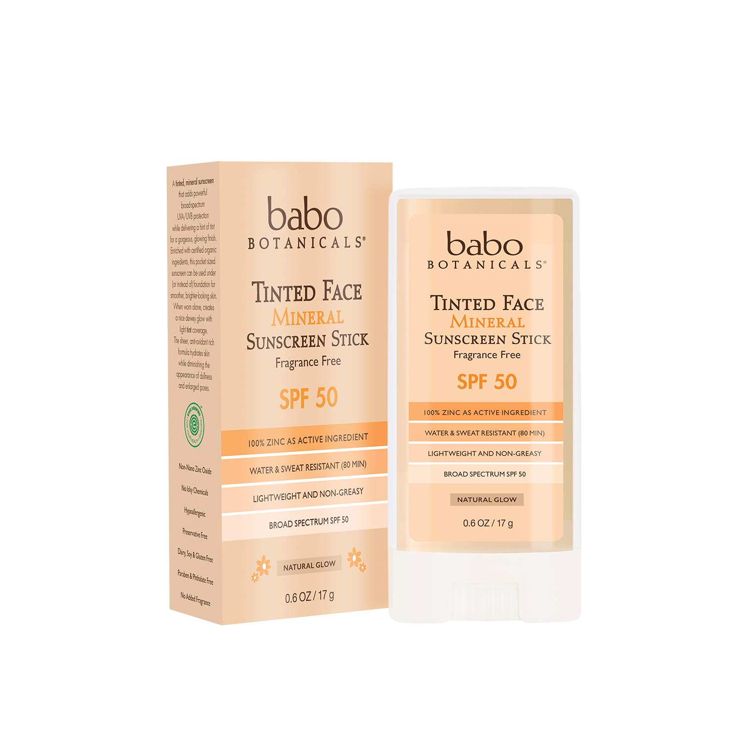 Babo Botanicals Tinted Moisturizing Face Mineral Stick Sunscreen SPF 50 with 70+% Organic Ingredients, Water-Resistant, Fragrance-Free - 0.6 oz.