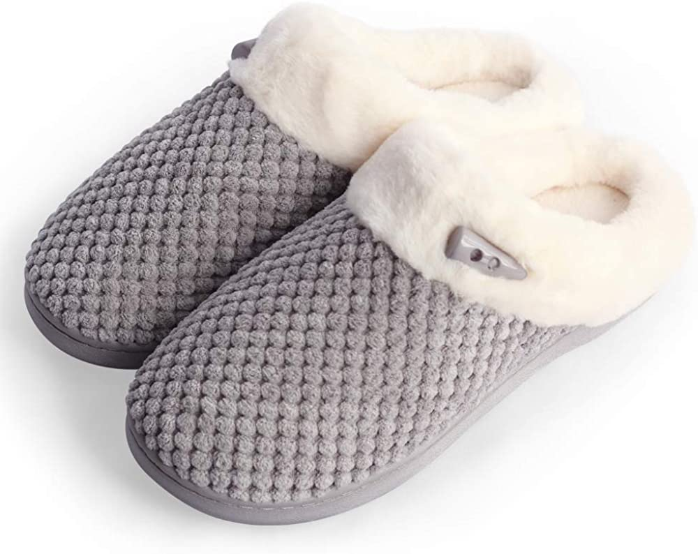 PUXUQU Women's Soft Memory Foam House Slippers Comfort Warm Slip on House Shoes Fuzzy Plush Fleece Bedroom Shoe Slippers for Women Indoor Outdoor Use