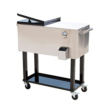 Great 80QT Portable Rolling Stainless Steel Cooler Cart Ice Chest Patio Party