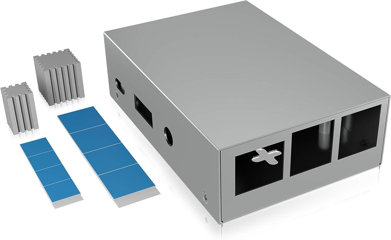 Icy Box Raspberry Pi 3 - Carcasa de Aluminio para Raspberry Pi 3 (2 disipadores de Calor, Montaje en Pared), Color Plateado: Amazon.es: Informática