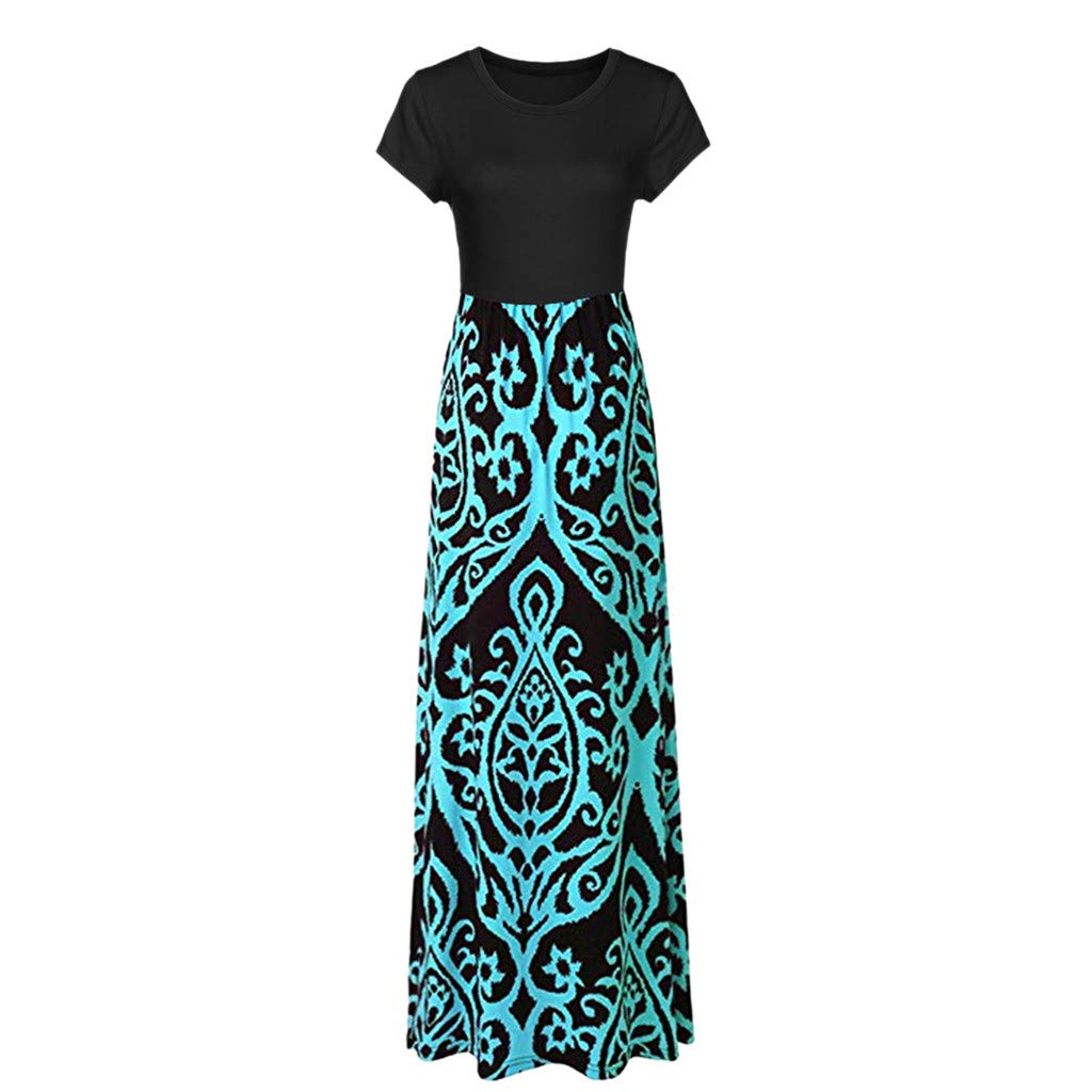 098272f1ef Amazon.com  Women Short Sleeve Loose Plain Casual Plus Size Long Maxi Dress  with Pockets  Kitchen   Dining